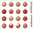 silver-red set of Christmas ornament, vector - stock photo