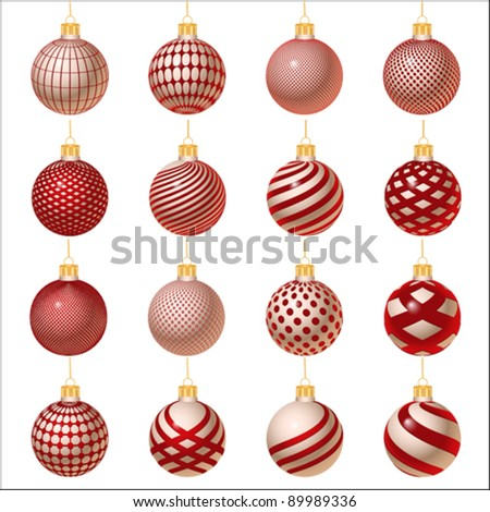 silver-red set of Christmas ornament, vector - stock vector