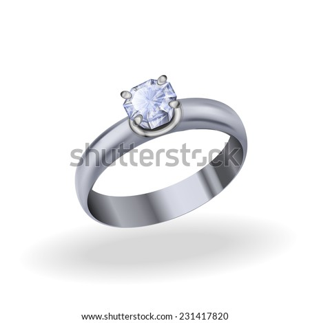 Silver ring with cubic zirconia, jewelry white gold with diamond on a white background - stock vector