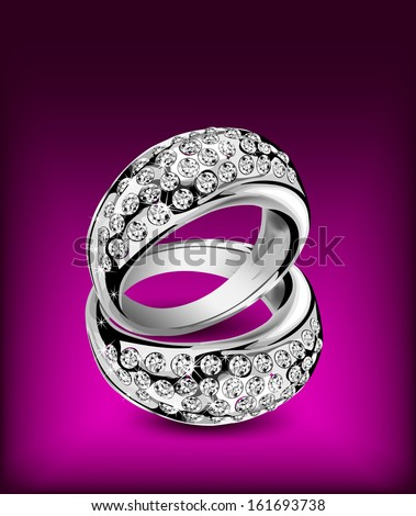 Silver rings with some diamonds. Vector illustration - stock vector