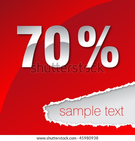 silver seventy percent on red background - stock vector