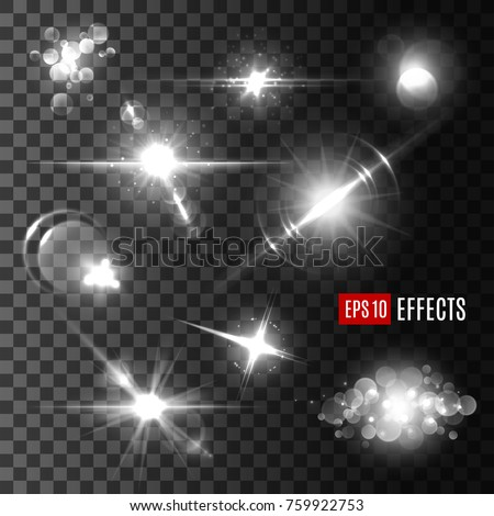 Silver shine of sparkles and bokeh lights, glow of sun with bright rays and glittering star with lens flare. Transparent light effect set for festive decoration design