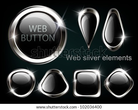 Silver shiny modern elements. Silver Web buttons. Vector sticker. Part of set. - stock vector