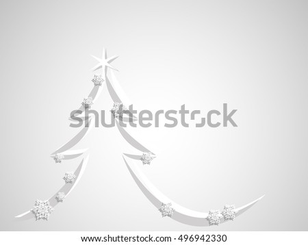 Silver simple christmas tree - vector illustration
