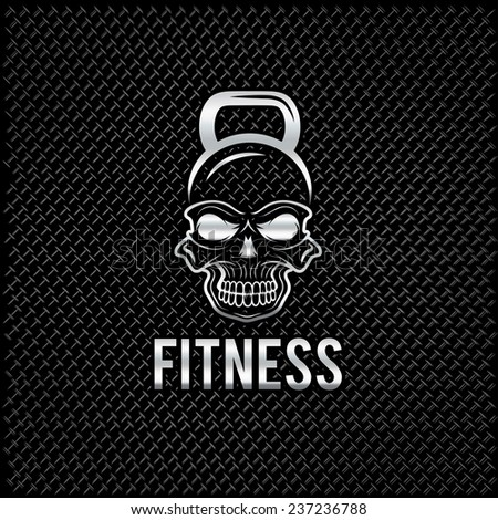 silver skull in the form of kettlebell fitness concept - stock vector