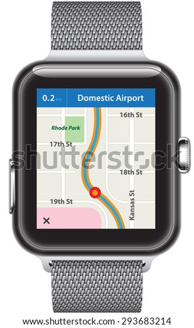 Silver smart watch with link band with a map of a navigation application showing on display screen.
