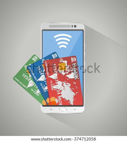 Silver smartphone and three bank debit credit cards inside screen. concept of mobile banking and online payment, vector illustration on grey background with long shadow - stock vector
