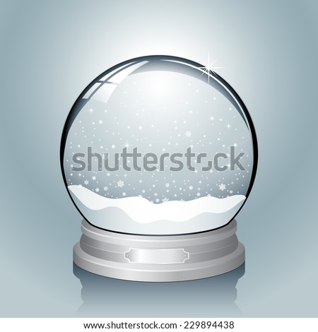 Silver Snow Globe - Realistic vector snow globe with falling snowflakes.  File has named layers for easy editing.  Colors are global swatches, so they can be modified easily. - stock vector