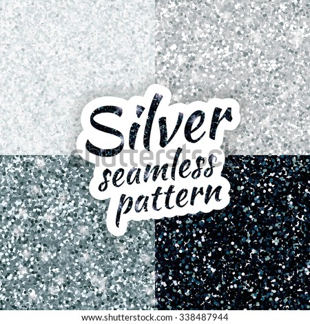 Silver sparkles texture, with shine and glossy confetti. Silver glitter for texture or background, for xmas, year, new, holiday, festive, event. Silver sparkles vector background, white, gray, black. - stock vector