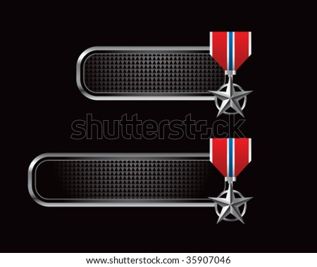 silver star medal on black tabs - stock vector