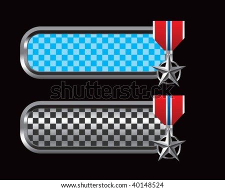 silver star medal on blue and black checkered tabs - stock vector