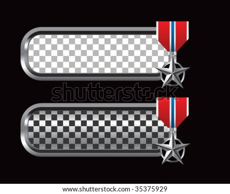 silver star medal on checkered tabs - stock vector