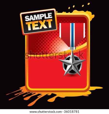 silver star medal on orange splatter banner - stock vector
