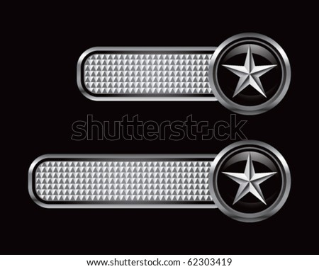 silver star on silver checkered tabs - stock vector