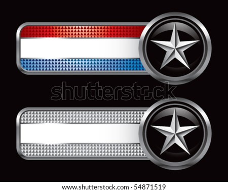silver star on striped banners - stock vector