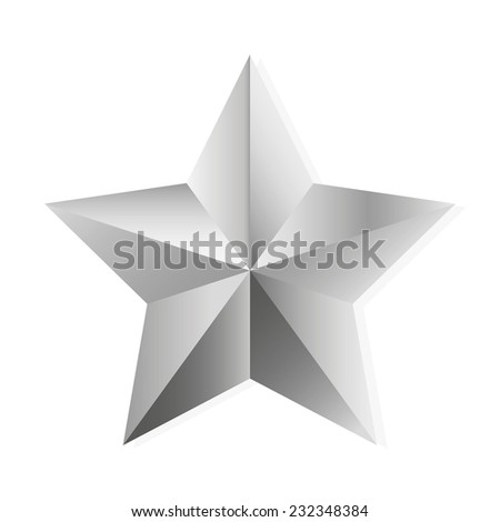 Silver star. Vector, isolated object on white background - stock vector