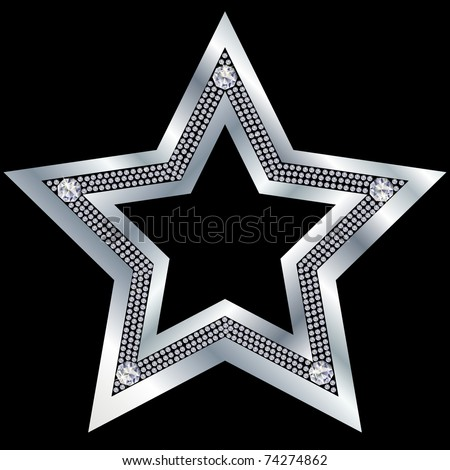 Silver star with diamonds, vector - stock vector