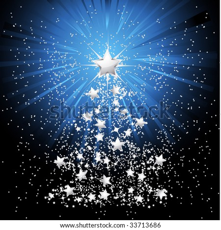 silver stars in the form of a christmas tree with light bursting out from behind main star - stock vector