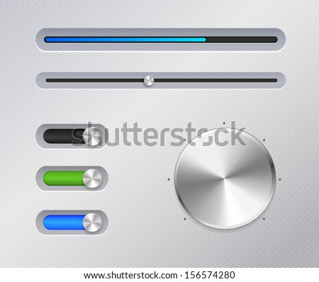 Silver stereo panel. Vector illustration