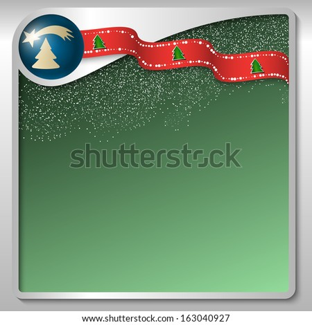 silver text box with a Christmas motif and falling snow