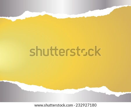 Silver torn paper on gold background - stock vector