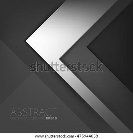 Silver triangle vector background arrow angle paper layer overlap on space for text and message artwork background design