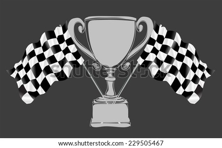 Silver Trophy and Flag, vector