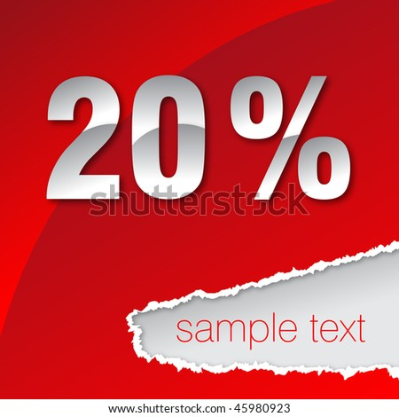silver twenty percent on red background - stock vector