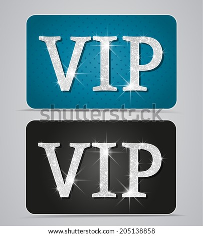 Silver two cards with text vip - stock vector