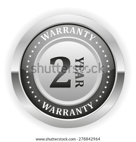 Silver two year warranty badge on white background - stock vector