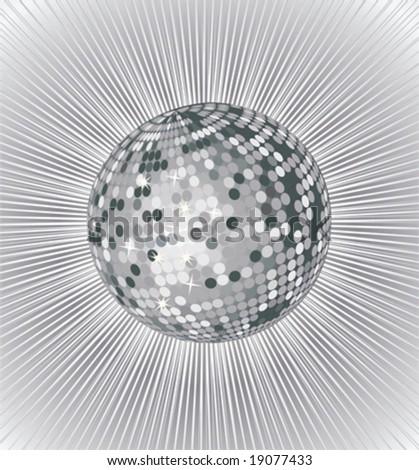 silver vector disco ball - stock vector