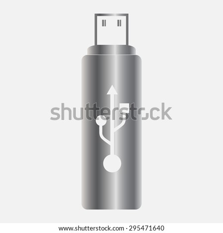 Silver vector flash drive