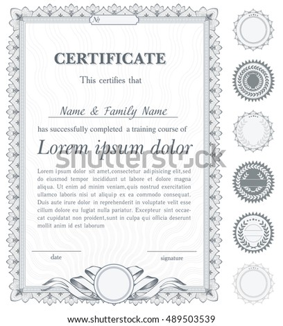 Silver Vertical Certificate Template Additional Design Stock Vector ...