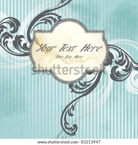 Silver Victorian vintage label (eps10); jpg version also available - stock vector