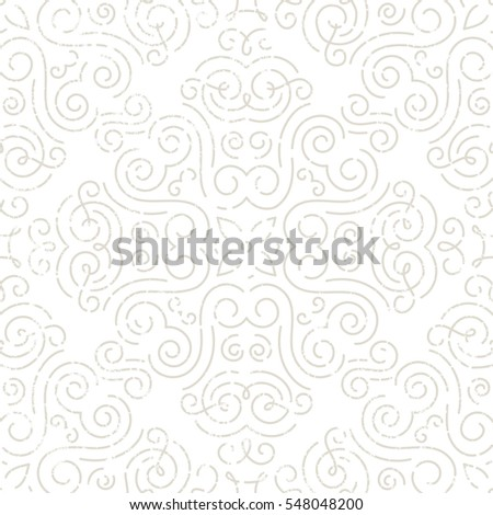 Silver vintage seamless wallpaper. Line art pattern with grunge texture. EPS10 vector illustration