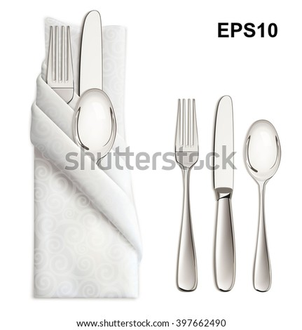 Silver ware or flatware set of fork, spoon and knife on napkin. Illustration - stock vector