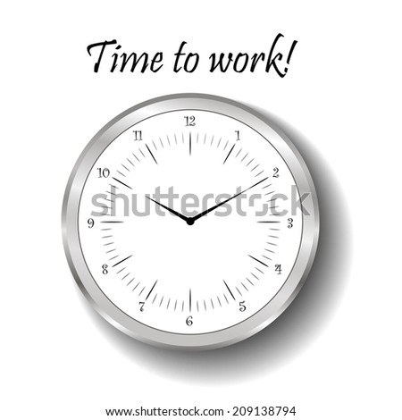 Silver watch template.Alarm clock. Time to work! - stock vector