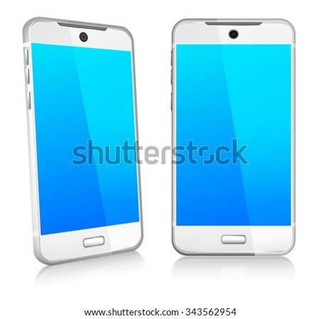 Silver White Phone Cell Smart Mobile 3D and 2D - stock vector