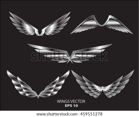 Silver wings eagle bird logo set on black background vector illustration.