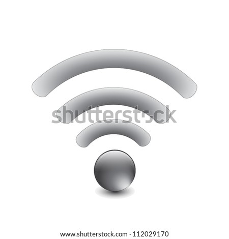 Silver Wireless Network Symbol - stock vector
