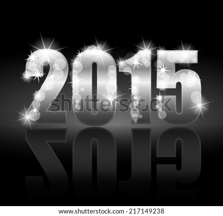 Silver year 2015 on dark background - stock vector