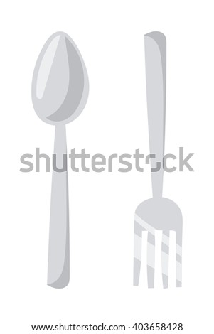 Silverware cutlery dinner dishware and kitchen cutlery silver tool. Cutlery equipment flatware dining tool. Cutlery set with fork, knife and spoon table restaurant silverware flat vector illustration. - stock vector