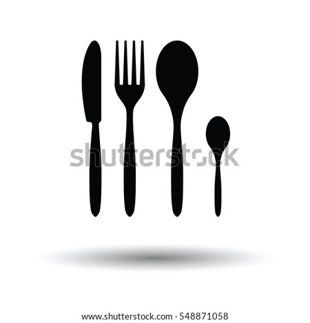 Silverware set icon. White background with shadow design. Vector illustration.
