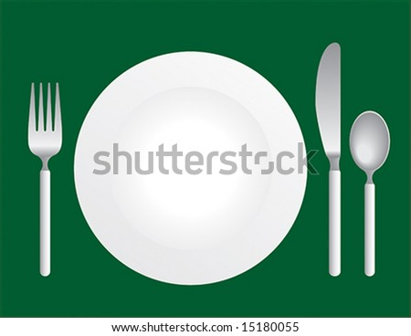 Silverware with a plate on green background