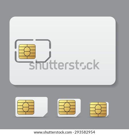 Sim card object realistic vector icon - stock vector