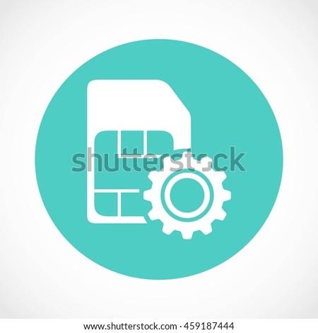 SIM card setting simple icon  - stock vector