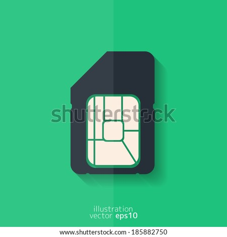 Sim card web icon. Flat design. - stock vector