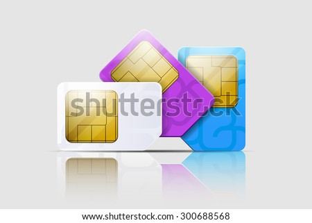 SIM cards for mobile phones. Mobile and wireless communication technologies. Network chip electronic connection. Vector illustration - stock vector