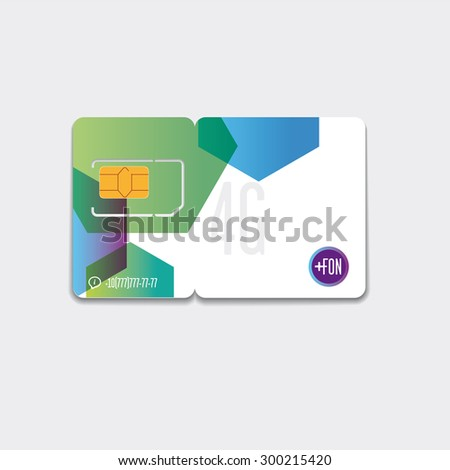SIM cards. It consists card with a design template. The card have a shadow. Light gray background.