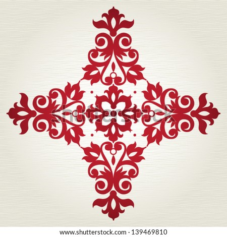 Simmetric ornament pattern in Victorian style. Element for design. It can be used for decorating of invitations, cards, decoration for bags and at tattoo creation. - stock vector